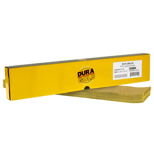 "80 Grit - Gold - Longboard Sheets 2-3/4"" wide by 16-1/2"" long - PSA Self Adhesive Stickyback Sandpaper - Box of 20"