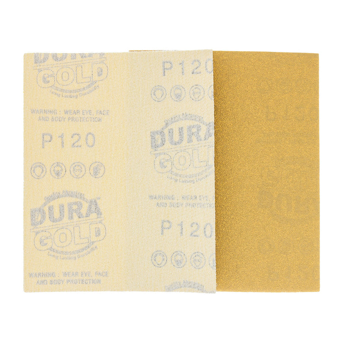 "Dura-Gold - Premium - 120 Grit Gold - 1/4 Sheet Hook & Loop Sandpaper 5.5"" x 4.5"" - For Automotive & Wookworking Palm Sanders - Box of 25"