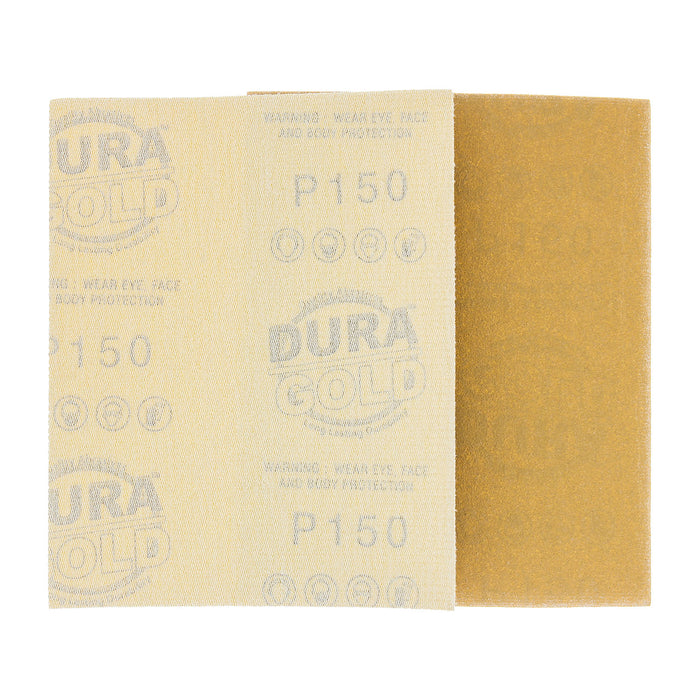 "150 Grit - 1/4 Sheet Hook & Loop Sandpaper 5.5"" x 4.5"" - For Automotive & Wookworking Palm Sanders - Box of 25"