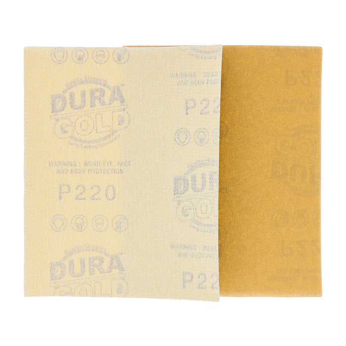 "Dura-Gold - Premium - 220 Grit Gold - 1/4 Sheet Hook & Loop Sandpaper 5.5"" x 4.5"" - For Automotive & Wookworking Palm Sanders - Box of 25"