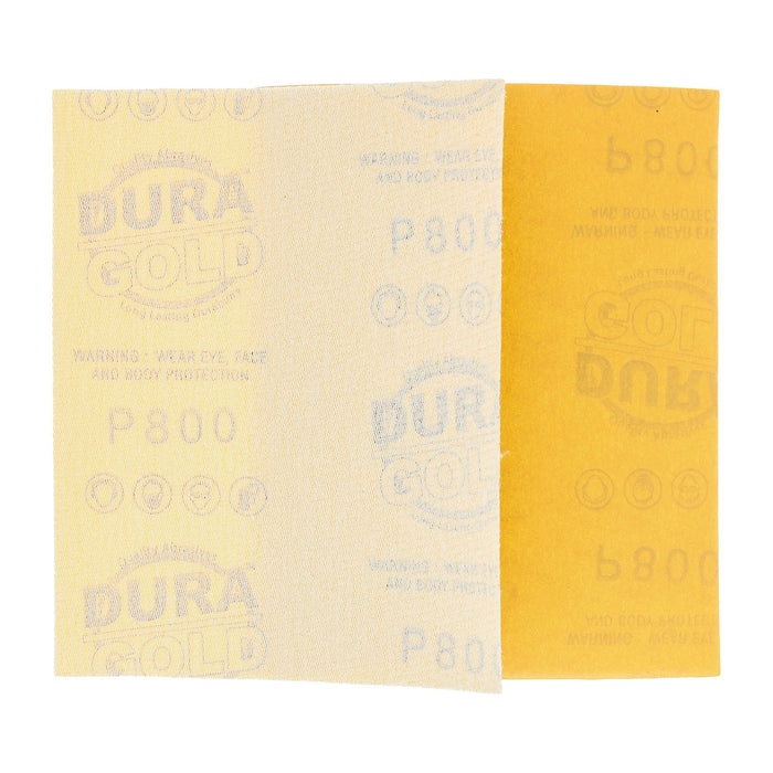 "Dura-Gold - Premium - 800 Grit Gold - 1/4 Sheet Hook & Loop Sandpaper 5.5"" x 4.5"" - For Automotive & Wookworking Palm Sanders - Box of 25"