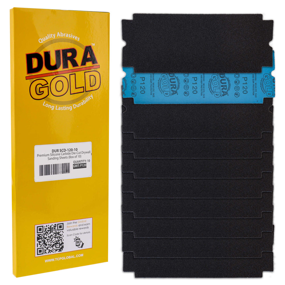 "Dura-Gold Premium Drywall Sanding Sheets - 120 Grit (Box of 10), 4-1/4"" x 11-1/4"" Die-Cut to Fit Drywall Tools & Sanders - Silicon Carbide Sandpaper"