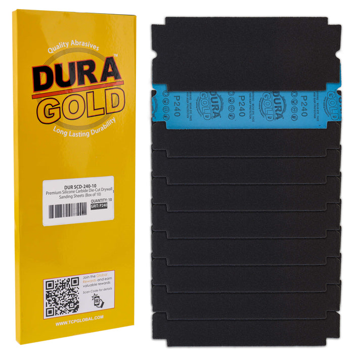 "Dura-Gold Premium Drywall Sanding Sheets - 240 Grit (Box of 10), 4-1/4"" x 11-1/4"" Die-Cut to Fit Drywall Tools & Sanders - Silicon Carbide Sandpaper"