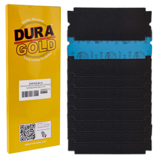 "Dura-Gold Premium Drywall Sanding Sheets - 80 Grit (Box of 10), 4-1/4"" x 11-1/4"" Die-Cut to Fit Drywall Tools & Sanders - Silicon Carbide Sandpaper"