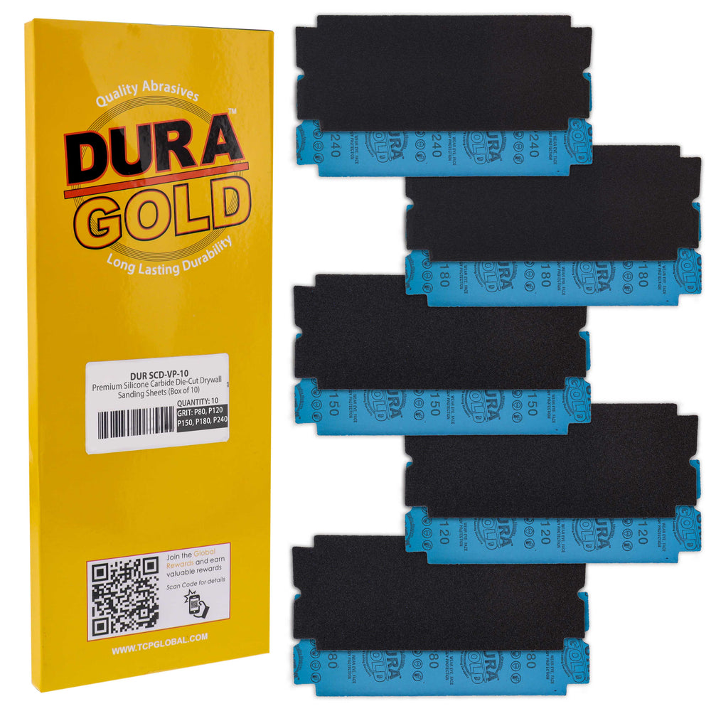 Dura-Gold Premium Drywall Sanding Sheets - 80, 120, 150, 180, 240 Grit (2 Each, 10 Total) Die-Cut, Fit Tools Sanders, Silicon Carbide Sandpaper