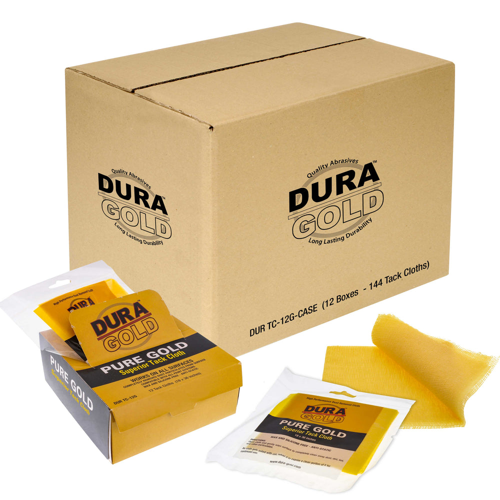 Dura-Gold - Pure Gold Superior Tack Cloths - Tack Rags (Case of 144) - Woodworking and Painters Professional Grade - Removes Dust, Sanding Particles, Cleans Surfaces - Wax and Silicone Free Anti-Static