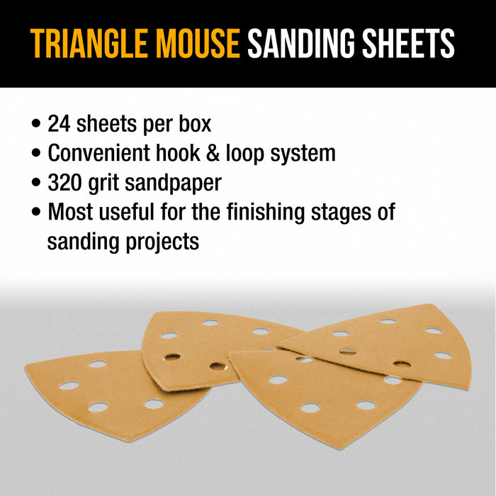 Dura-Gold Premium Triangle Mouse Sanding Sheets - 320 Grit (Box of 24) - 6 Hole Pattern Hook & Loop Triangular Shaped Discs - Aluminum Oxide Sandpaper