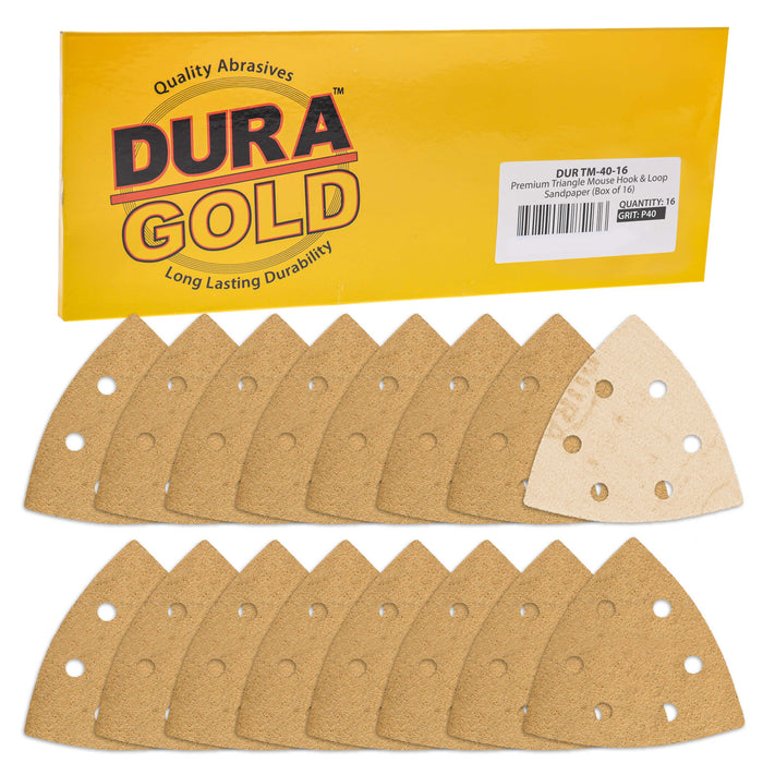 Triangle Mouse Sanding Sheets - 40 Grit (Box of 16) - 6 Hole Pattern Hook & Loop Triangular Shaped Discs - Aluminum Oxide Sandpaper
