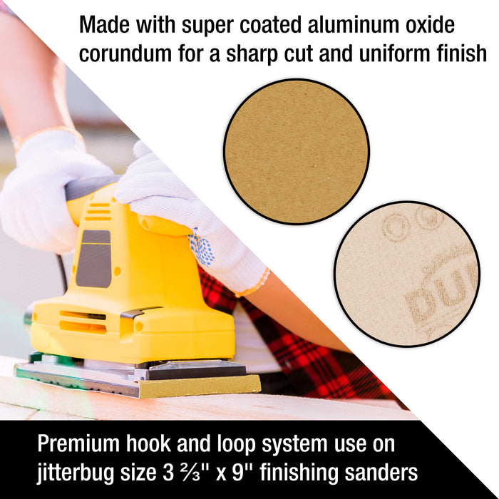 "Dura-Gold Premium Sandpaper - 120 Grit - 1/3 Sheet Size Wood Workers Gold, 3-2/3"" x 9"" with Hook & Loop Backing - Box of 20 Sheets - Jitterbug Sander"