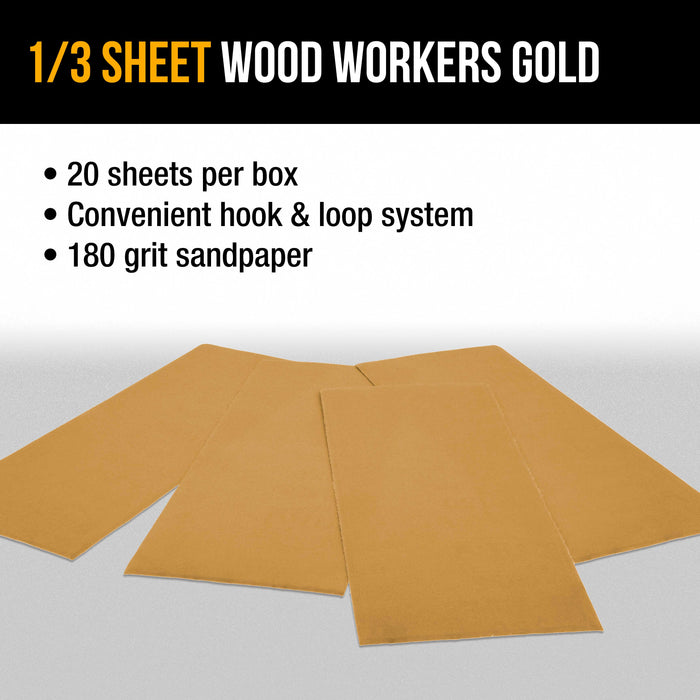 "180 Grit - 1/3 Sheet Size Wood Workers Gold, 3-2/3"" x 9"" with Hook & Loop Backing - Box of 20 Sheets - Jitterbug Sander"