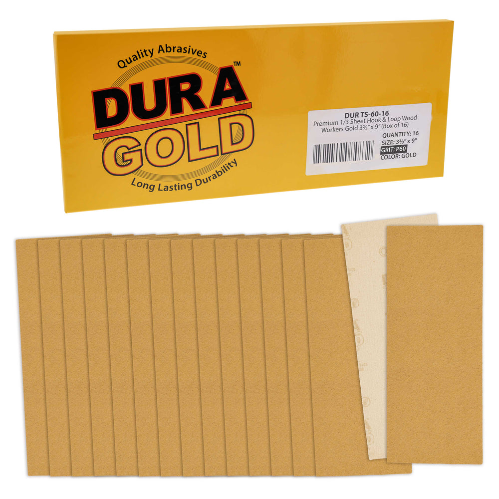 "60 Grit - 1/3 Sheet Size Wood Workers Gold, 3-2/3"" x 9"" with Hook & Loop Backing - Box of 16 Sheets - Jitterbug Sander"