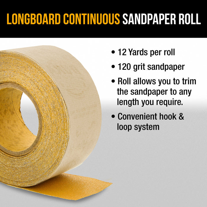 "Dura-Gold Premium 120 Grit Gold Longboard Continuous Sandpaper Roll, 2-3/4"" Wide, 12 Yards Long, Hook & Loop Backing - Automotive, Woodworking Sanding"