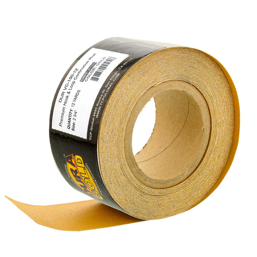 "Dura-Gold Premium 150 Grit Gold Longboard Continuous Sandpaper Roll, 2-3/4"" Wide, 12 Yards Long, Hook & Loop Backing - Automotive, Woodworking Sanding"