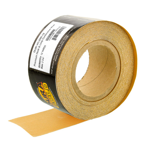 "Dura-Gold Premium 220 Grit Gold Longboard Continuous Sandpaper Roll, 2-3/4"" Wide, 12 Yards Long, Hook & Loop Backing - Automotive, Woodworking Sanding"
