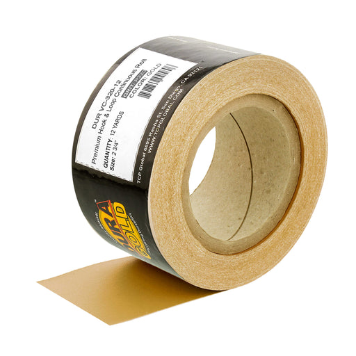 "Dura-Gold Premium 320 Grit Gold Longboard Continuous Sandpaper Roll, 2-3/4"" Wide, 12 Yards Long, Hook & Loop Backing - Automotive, Woodworking Sanding"