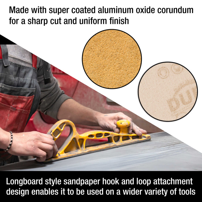 "Dura-Gold Premium 40 Grit Gold Longboard Continuous Sandpaper Roll, 2-3/4"" Wide, 12 Yards Long, Hook & Loop Backing - Automotive, Woodworking Sanding"