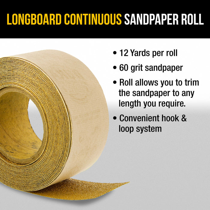 "Dura-Gold Premium 60 Grit Gold Longboard Continuous Sandpaper Roll, 2-3/4"" Wide, 12 Yards Long, Hook & Loop Backing - Automotive, Woodworking Sanding"