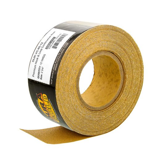 "Dura-Gold Premium 80 Grit Gold Longboard Continuous Sandpaper Roll, 2-3/4"" Wide, 12 Yards Long, Hook & Loop Backing - Automotive, Woodworking Sanding"