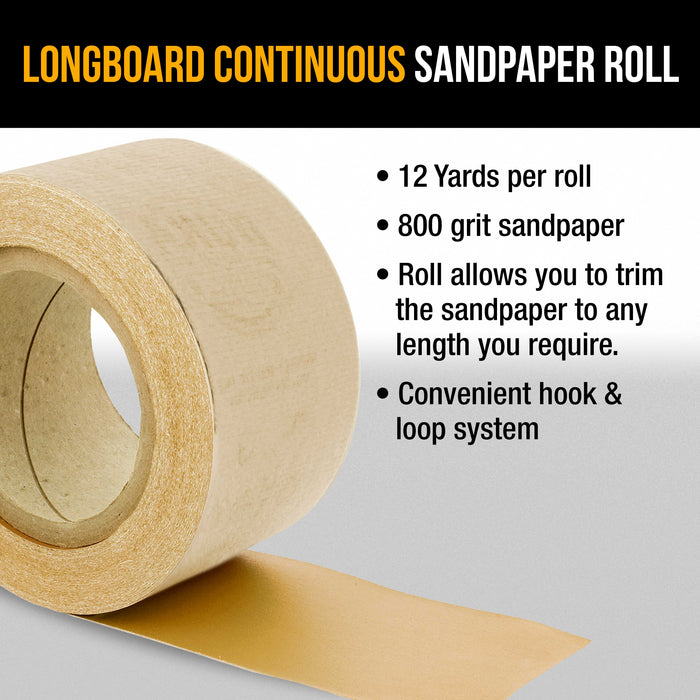 "Dura-Gold Premium 800 Grit Gold Longboard Continuous Sandpaper Roll, 2-3/4"" Wide, 12 Yards Long, Hook & Loop Backing - Auto Detailing, Color Sanding"
