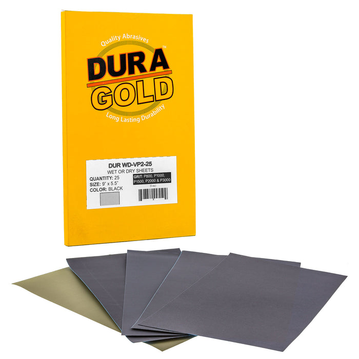 "Variety Pack Ultra Fine - Wet or Dry Sandpaper Finishing Sheets 5-1/2"" x 9"" - Box of 25"