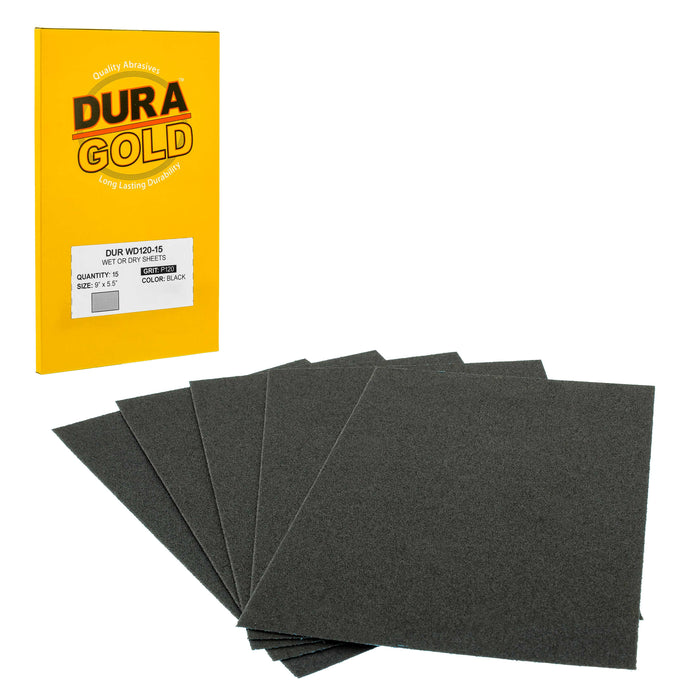 "Dura-Gold - Premium - Wet or Dry - 120 Grit - Professional cut to 5-1/2"" x 9"" Sheets - Color Sanding and Polishing for Automotive and Woodworking -Box of 15 Sandpaper Finishing Sheets"