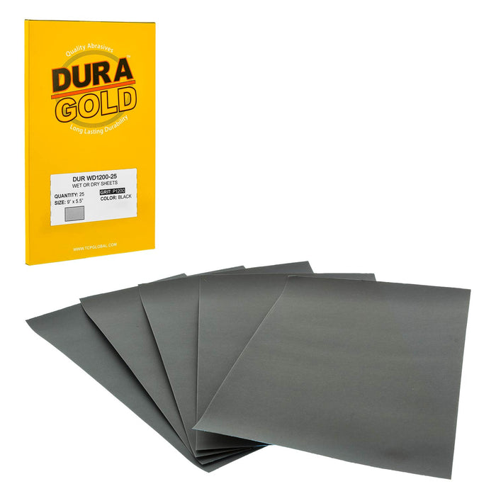 "Dura-Gold - Premium - Wet or Dry - 1200 Grit - Professional cut to 5-1/2"" x 9"" Sheets - Color Sanding and Polishing for Automotive and Woodworking -Box of 25 Sandpaper Finishing Sheets"