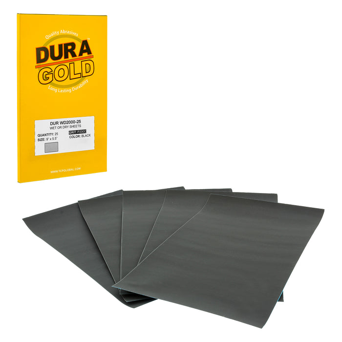 "2000 Grit - Wet or Dry Sandpaper Finishing Sheets 5-1/2"" x 9"" Sheets - Box of 25"