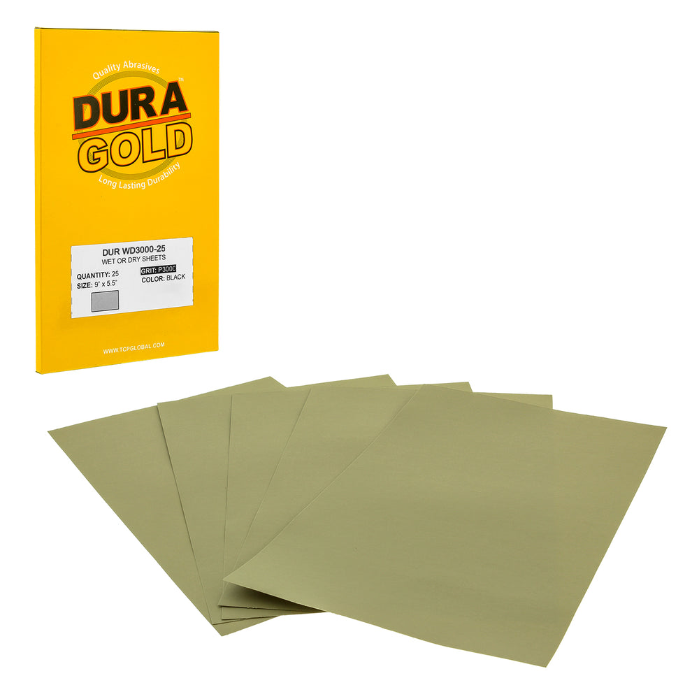 "3000 Grit - Wet or Dry Sandpaper Finishing Sheets 5-1/2"" x 9"" Sheets - Box of 25"