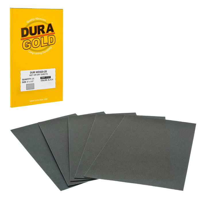 "320 Grit - Wet or Dry Sandpaper Finishing Sheets 5-1/2"" x 9"" Sheets - Box of 25"