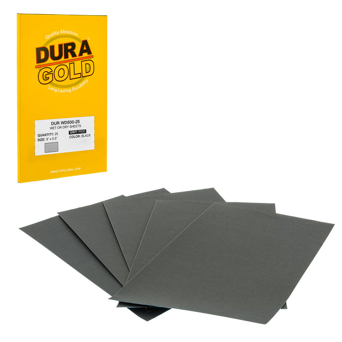 "500 Grit - Wet or Dry Sandpaper Finishing Sheets 5-1/2"" x 9"" Sheets - Box of 25"