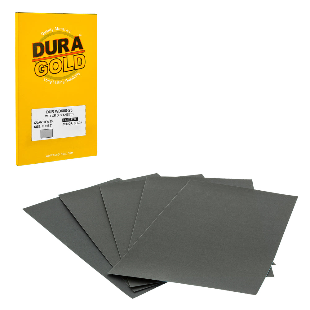 "600 Grit - Wet or Dry Sandpaper Finishing Sheets 5-1/2"" x 9"" Sheets - Box of 25"