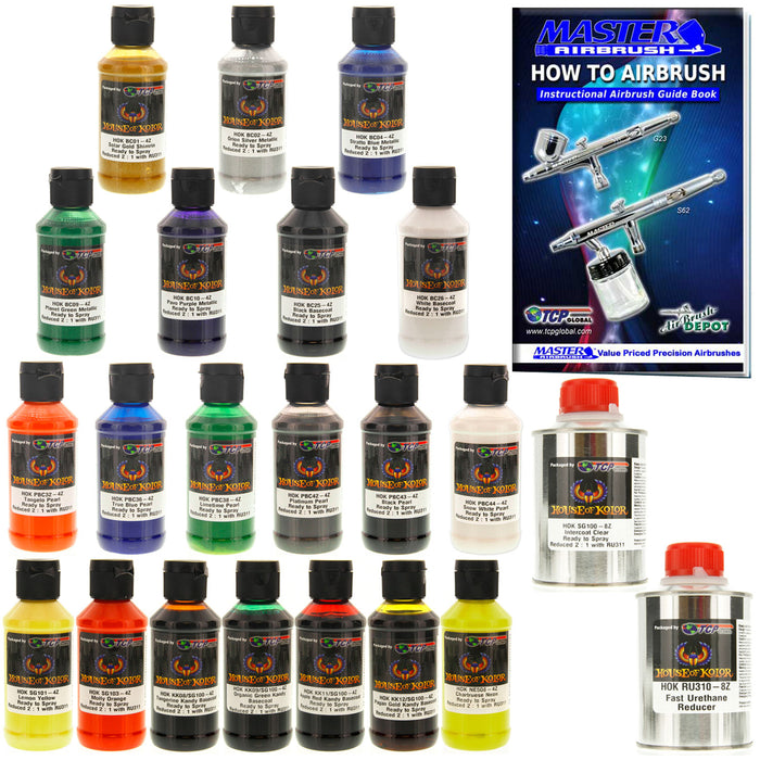 Top 20 Color Pro Set - Kandy, Graphic, Metallic and Pearl Basecoats, 4 oz (Ready-to-Spray) House of Kolor