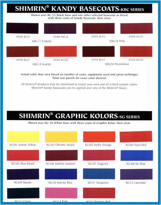 Euro Red- Shimrin (1st Gen) Graphic Kolor Basecoat, 1 Quart House of Kolor