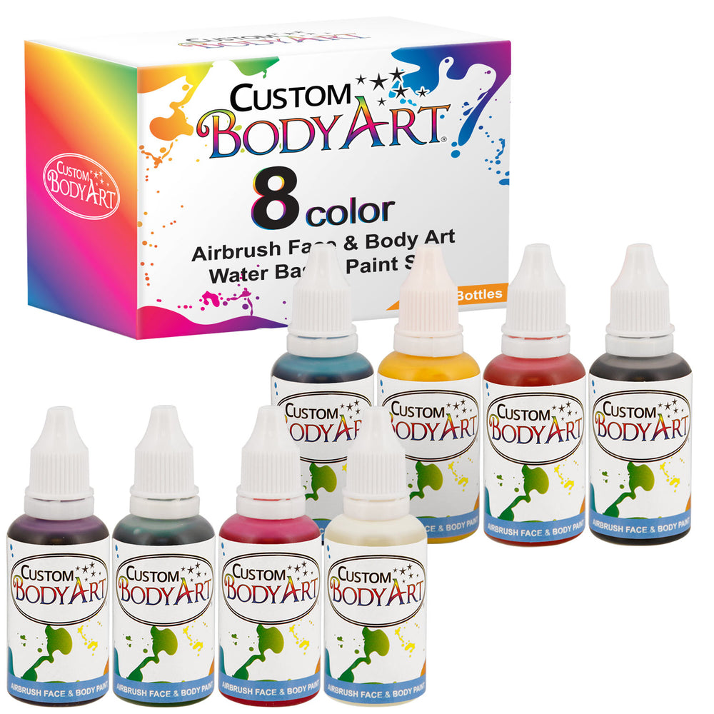 8 Primary Color Airbrush Face & Body Water Based Painting Set, 1 oz. Bottles