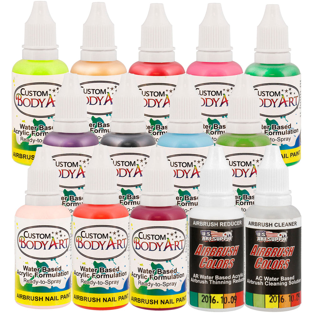 12 Secondary Colors Set of Custom Body Art Professional Airbrush Nail Paint Plus Reducer and Cleaner in 1 oz. Bottles