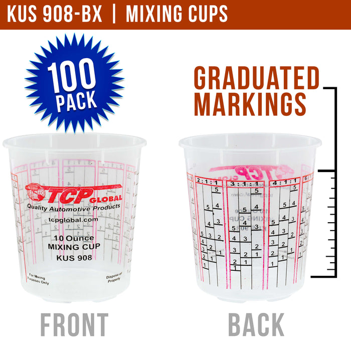 Custom Shop/TCP Global - Box of 100 - Mix Cups - 1/2 Pint size - 10 ounce Volume Paint and Epoxy Mixing Cups - 12 Lids