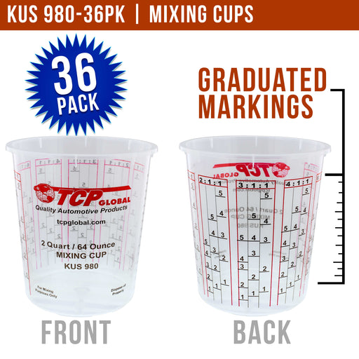 Pack of 36 - Mix Cups - Half Gallon size - 64 ounce Volume Paint and Epoxy Mixing Cups - Mix Cups Are Calibrated with Multiple Mixing Ratios