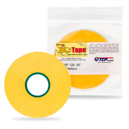1/24 in. x 28 yd K-Tape Coated Series Micro Fineline Tape, Yellow (1 Roll)