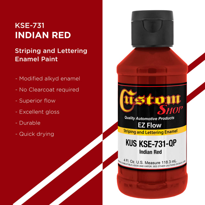 Indian Red - Ez-Flow Striping & Lettering Enamel, 1/4 Pint