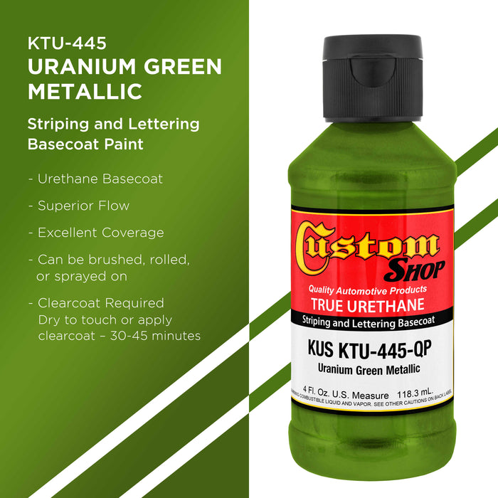 Uranium Green Metallic - True-U Pinstriping Urethane Basecoat Metallic Colors, 1/4 Pint