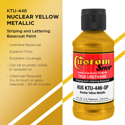 Nuclear Yellow Metallic - True-U Pinstriping Urethane Basecoat Metallic Colors, 1/4 Pint