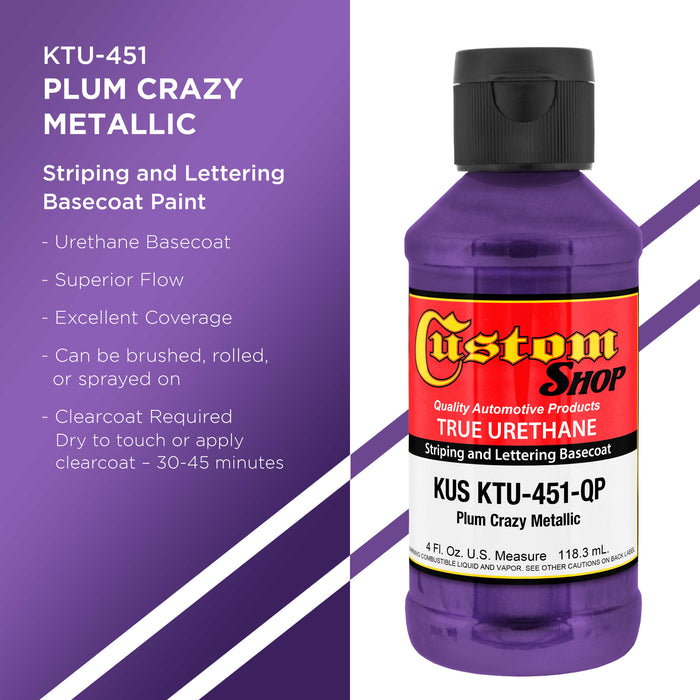 Plum Crazy Metallic - True-U Pinstriping Urethane Basecoat Metallic Colors, 1/4 Pint
