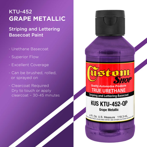 Grape Metallic - True-U Pinstriping Urethane Basecoat Metallic Colors, 1/4 Pint