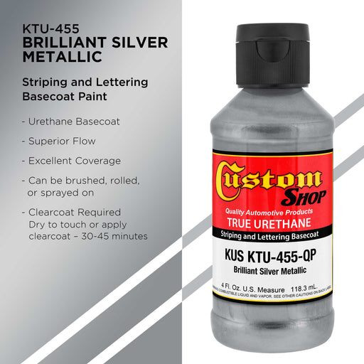 Brilliant Silver Metallic - True-U Pinstriping Urethane Basecoat Metallic Colors, 1/4 Pint