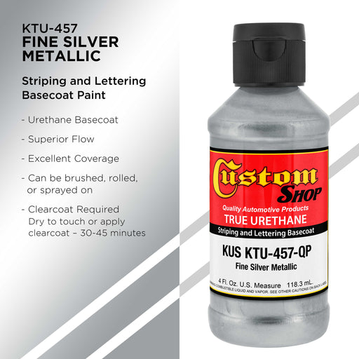 Fine Silver Metallic - True-U Pinstriping Urethane Basecoat Metallic Colors, 1/4 Pint