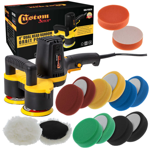 "Custom Shop 4"" Dual Head Variable Speed Random Orbit Dual-Action Polisher with a 12 Pad Buffing and Polishing Kit - Buff, Polish & Detail Car Auto Paint"
