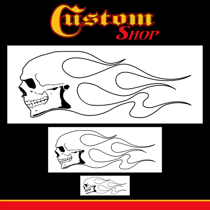 Custom Shop Airbrush Skull Fire Flame Stencil Set (Skull Design #1 in 3 Scale Sizes) - Laser Cut Reusable Templates