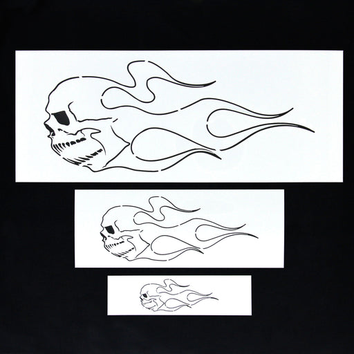 Custom Shop Airbrush Skull Fire Flame Stencil Set (Skull Design #2 in 3 Scale Sizes) - Laser Cut Reusable Templates