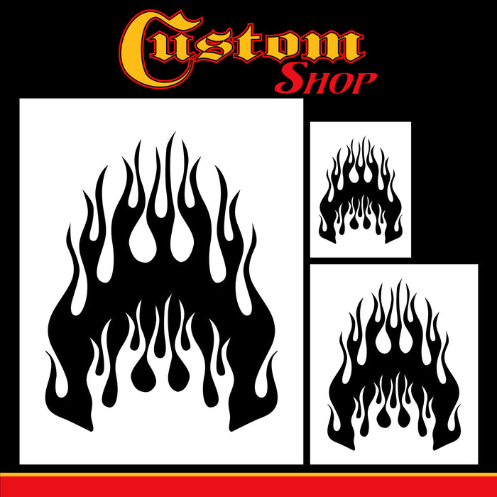 Custom Shop Airbrush Flame Licks Stencil Set (Flame Licks Design #1 in 3 Scale Sizes) - Laser Cut Reusable Templates