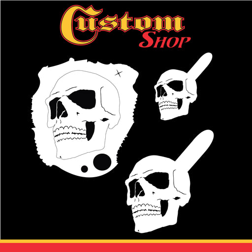Custom Shop Airbrush Stencil Skull Design Set #1 (3 Different Scale Sizes) - 3 Laser Cut Reusable Templates